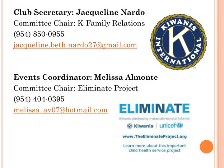 Club Secretary: Jacqueline