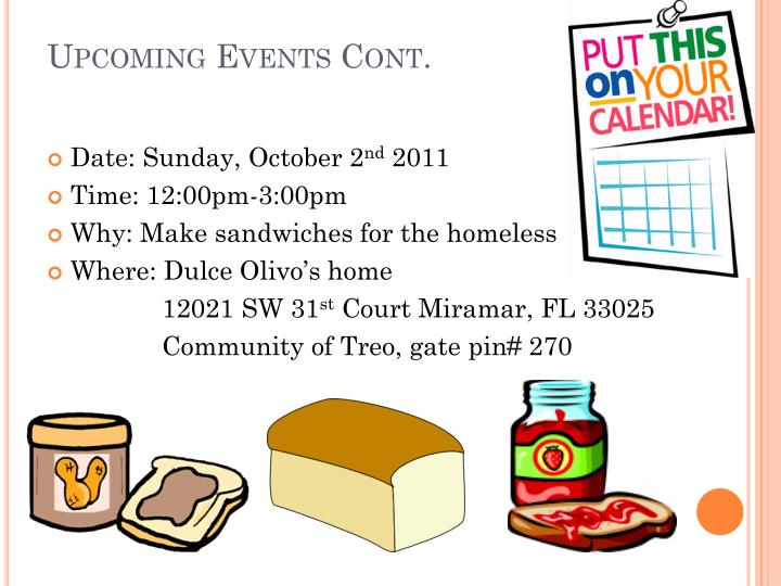 Upcoming Events Cont.