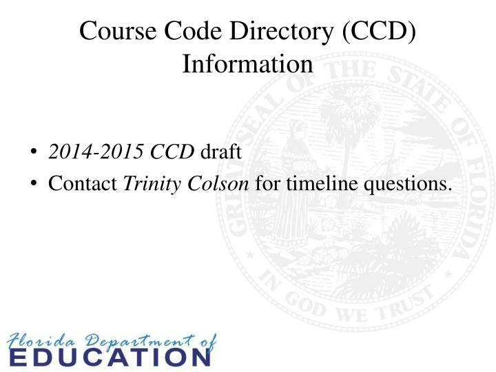 Course Code Directory (CCD) Information