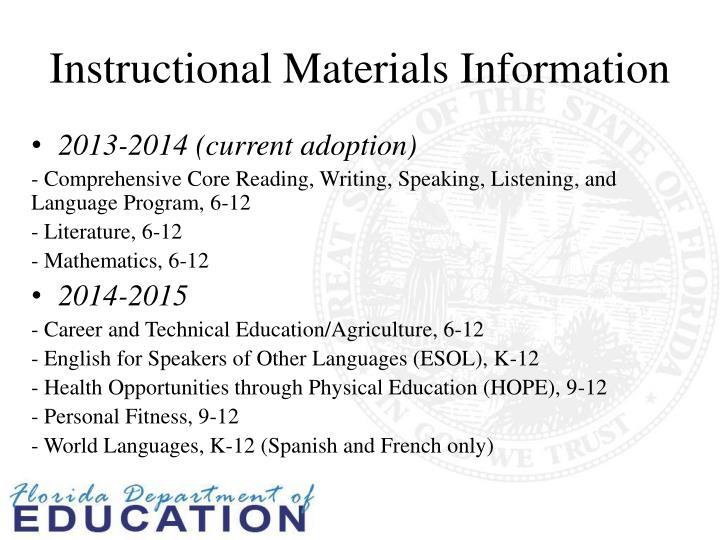 Instructional Materials Information