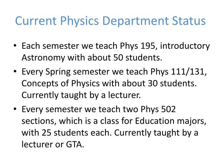 Current Physics Department Status