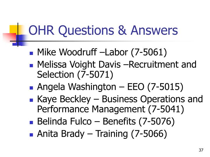 OHR Questions & Answers