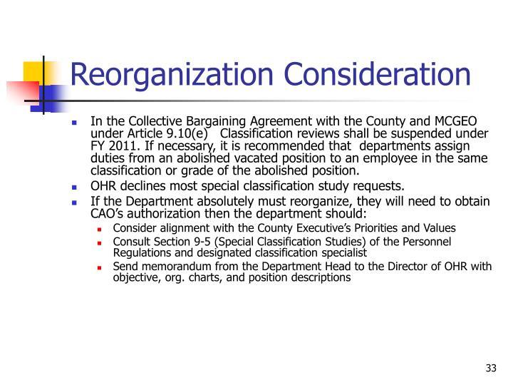Reorganization Consideration