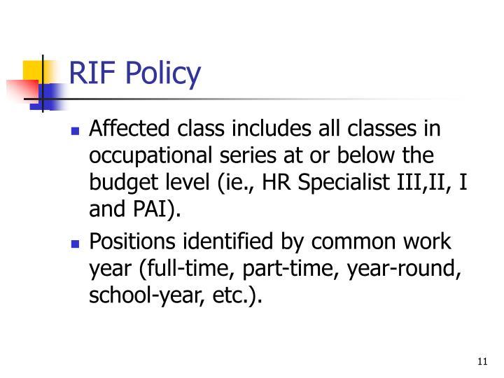 RIF Policy