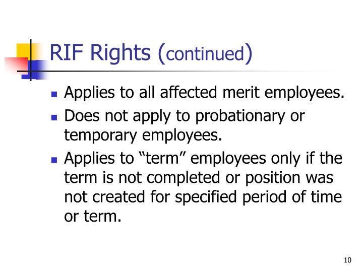 RIF Rights (
