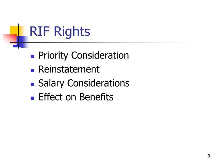 RIF Rights