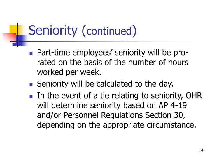 Seniority (
