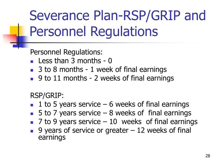 Severance Plan-RSP/GRIP and Personnel Regulations