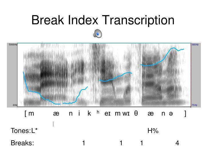 Break Index Transcription