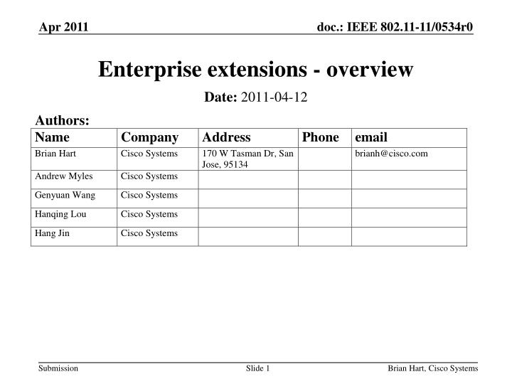 enterprise extensions overview n.