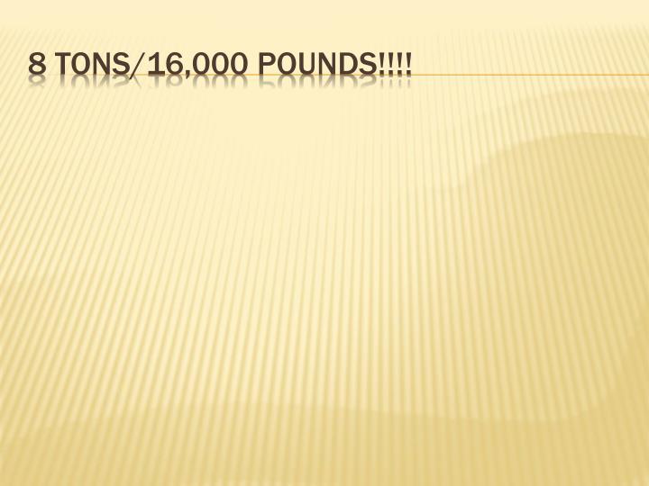 8 tons 16 000 pounds