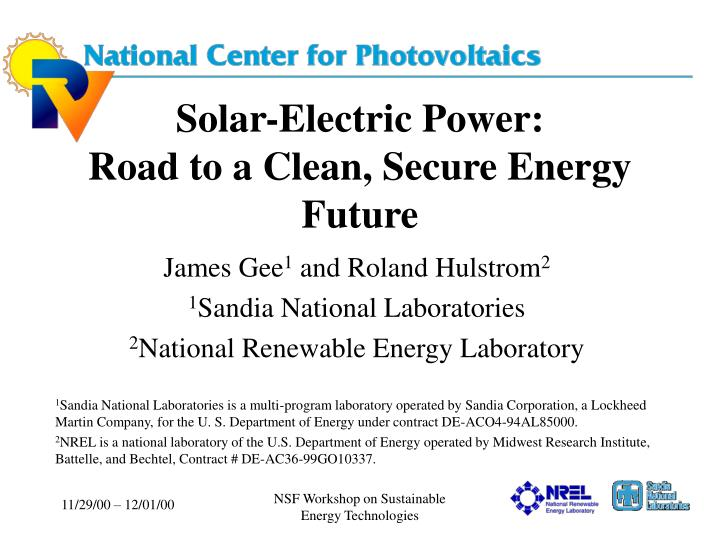 solar electric power road to a clean secure energy future n.