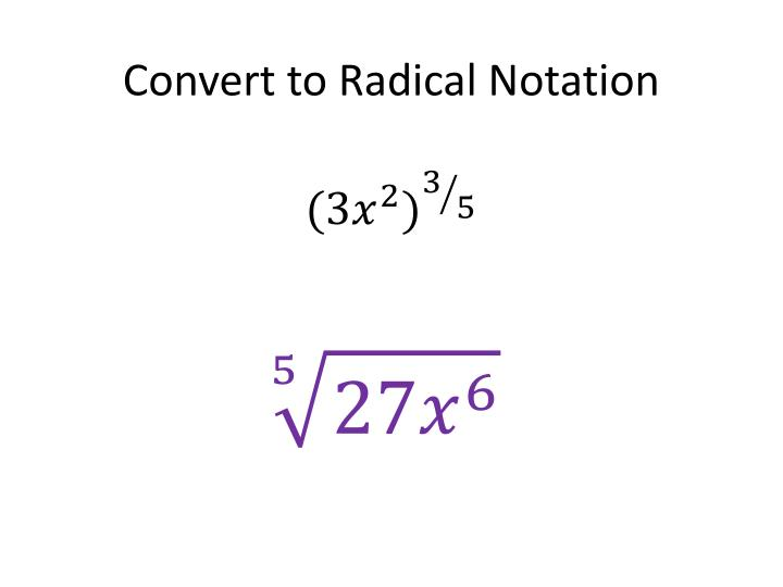 convert to radical notation n.
