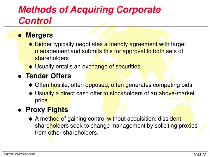 control of the corporation mergers and