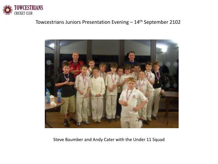 Towcestrians juniors presentation evening 14 th september 21021