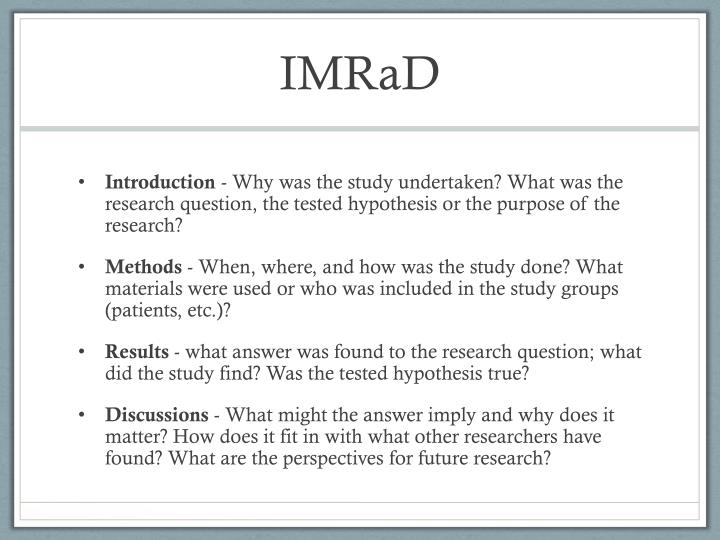 PPT - The IMRaD Structure Powe...