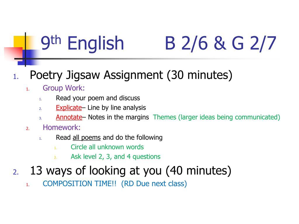 PPT - 9 th English B 3/8 & G 3/9 PowerPoint Presentation