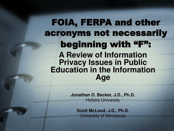 foia ferpa and other acronyms not necessarily beginning with f n.