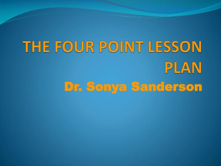 the four point lesson plan n.