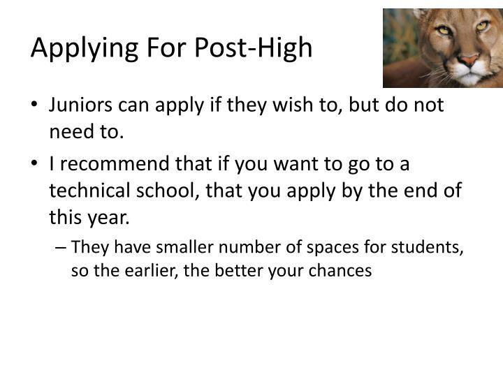 Applying For Post-High