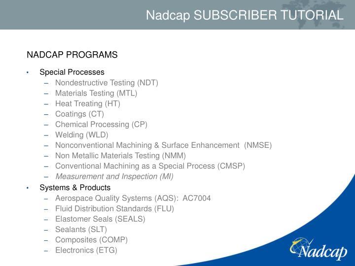 NADCAP PROGRAMS