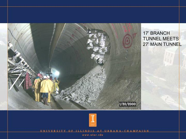 17' BRANCH TUNNEL MEETS 27' MAIN TUNNEL