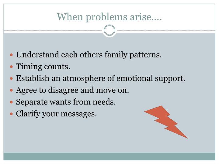 When problems arise….