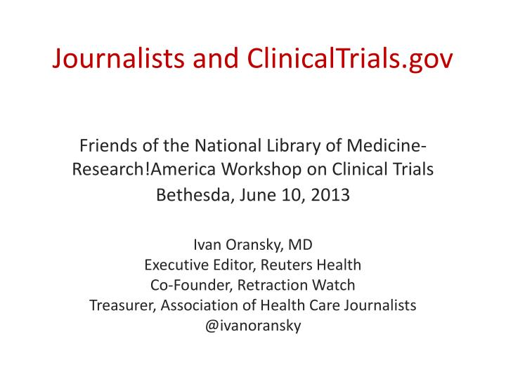 journalists and clinicaltrials gov n.