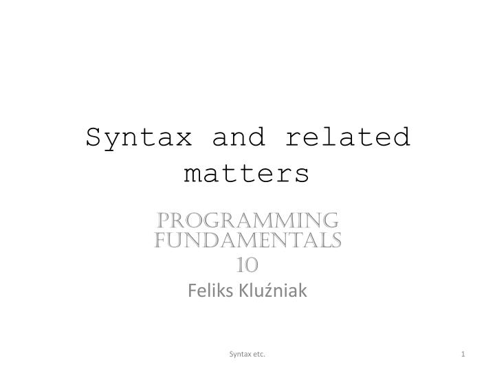 syntax and related matters n.