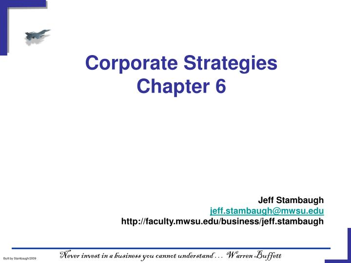 corporate strategies chapter 6