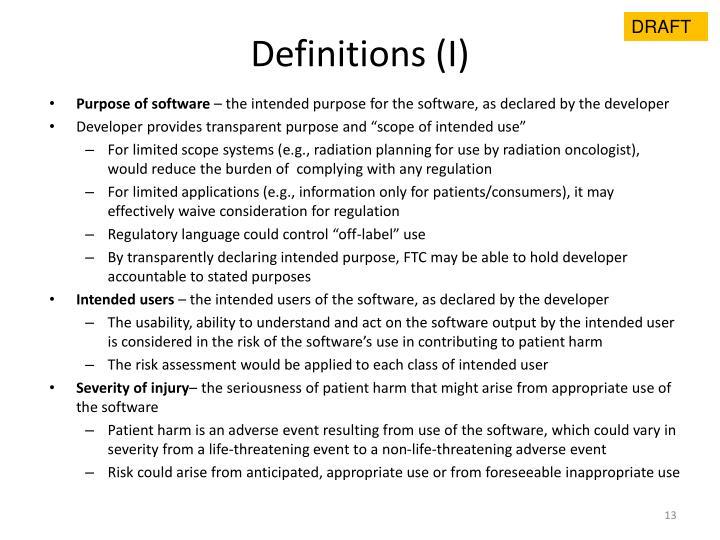 Definitions (I)