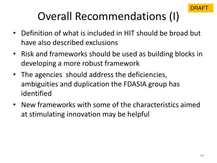 Overall Recommendations (I)