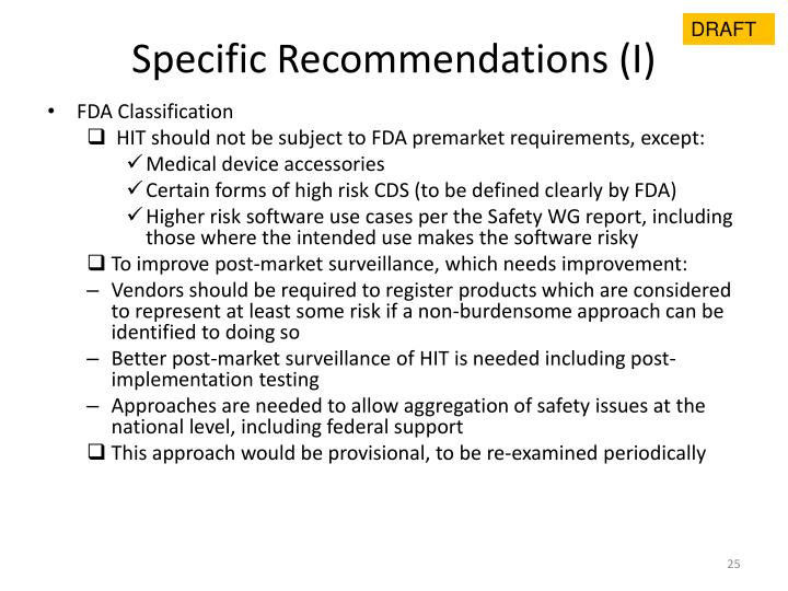 Specific Recommendations (I)
