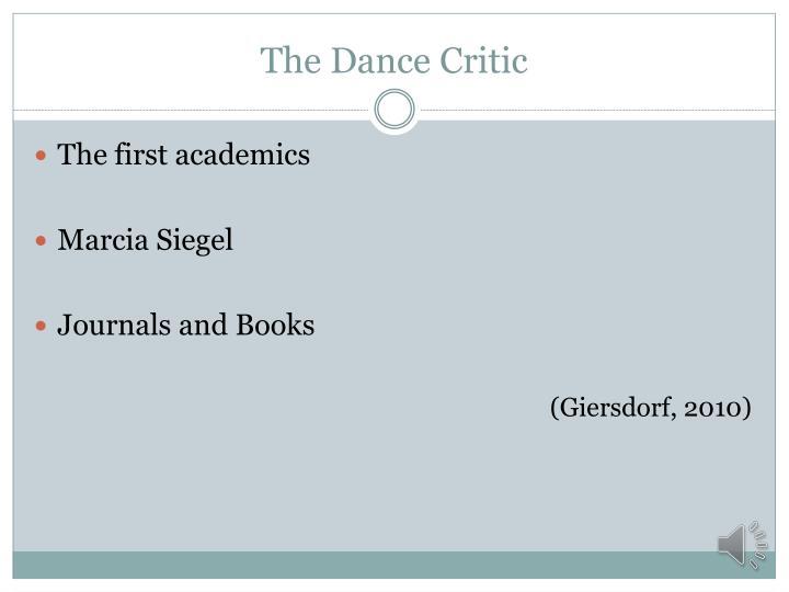 The dance critic1