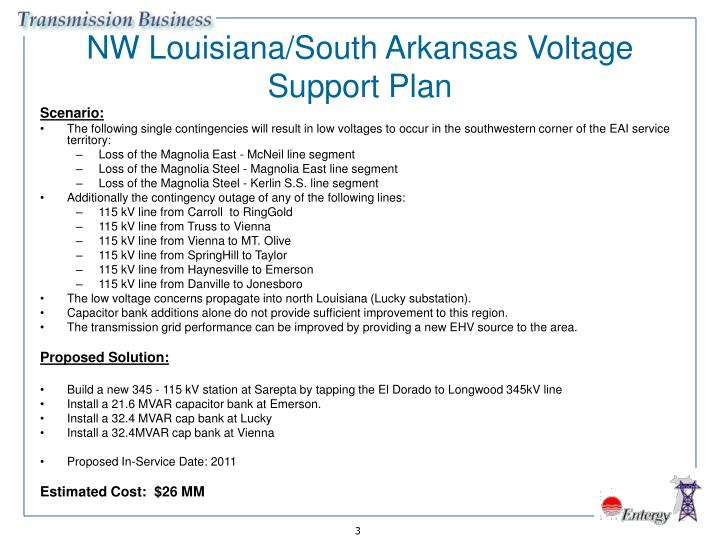 Nw louisiana south arkansas voltage support plan