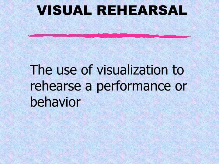 The use of visualization to rehearse a performance or behavior
