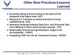 other best practices lessons learned