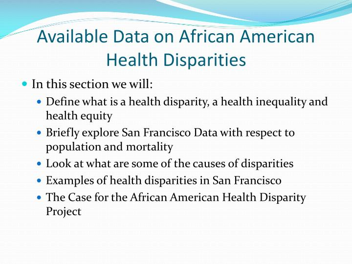 african americans health disparities Why are health outcomes so poor in black neighborhoods in baltimore, a city  blessed to be home to one of the nation's top three hospitals.