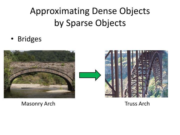 Approximating dense objects by sparse objects1