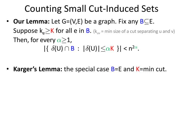 Counting Small Cut-Induced Sets