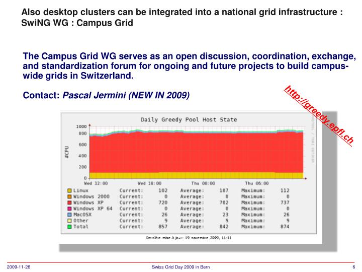 Also desktop clusters can be integrated into a national grid infrastructure :
