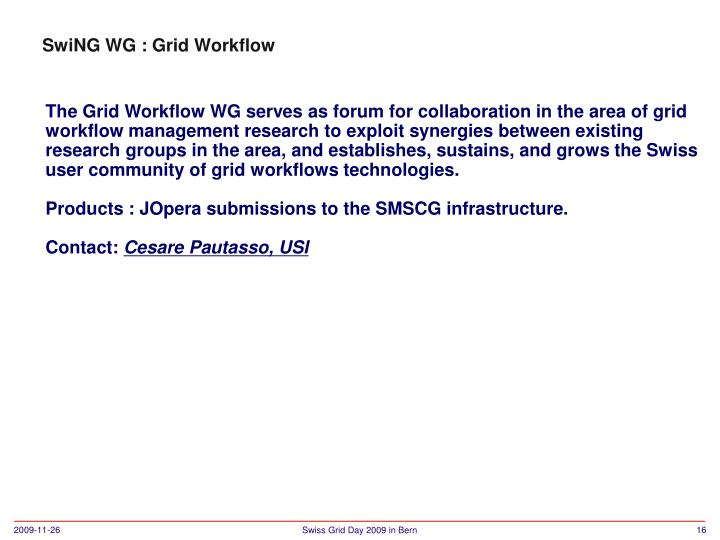 SwiNG WG : Grid Workflow