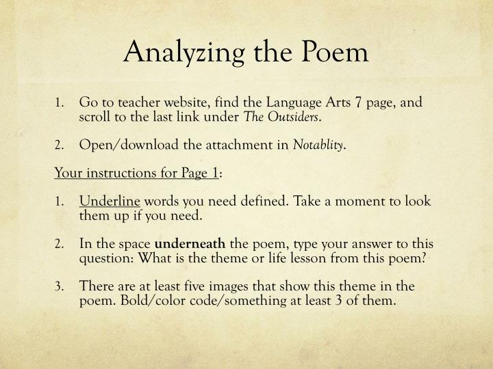 an analysis of the poem a Analysis poems examples of all types of analysis poems share, read, and learn how to write poems about analysis.