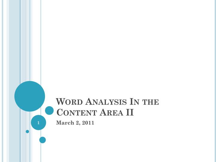 word analysis in the content area ii n.