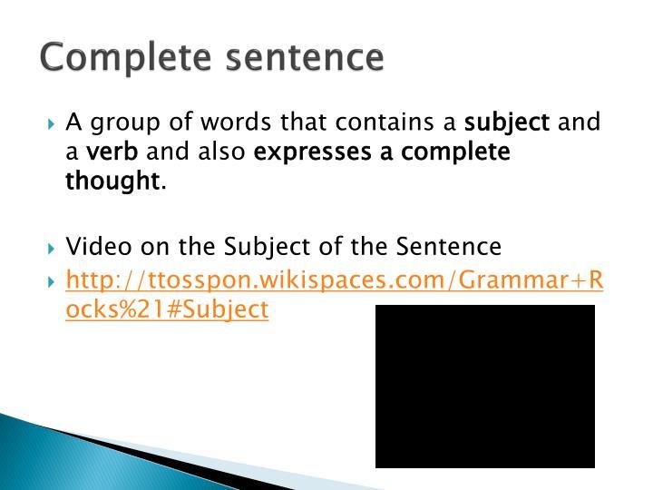 Complete sentence