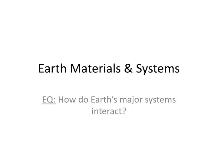 earth materials systems n.