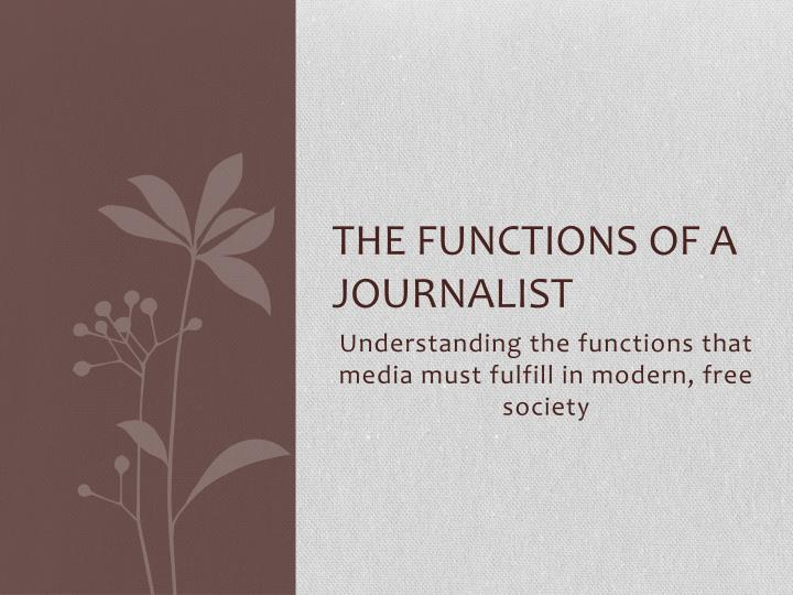 the functions of a journalist n.