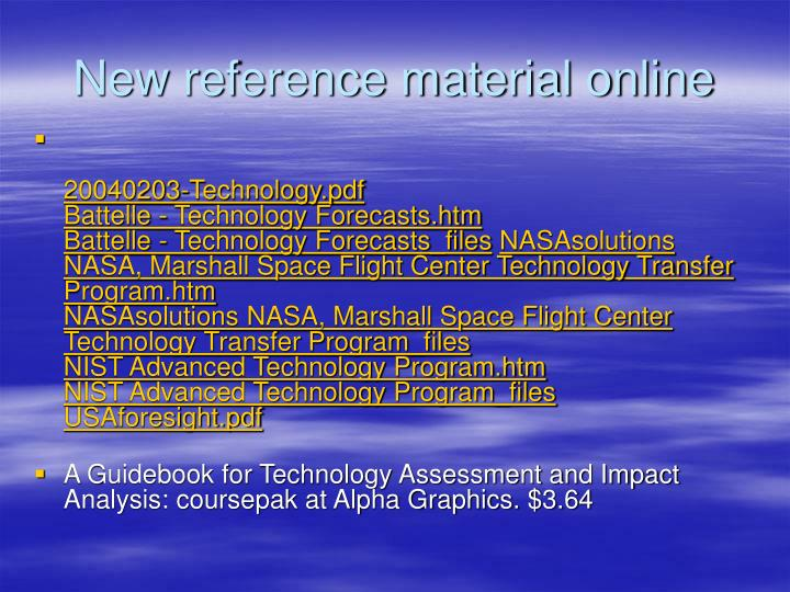new reference material online n.