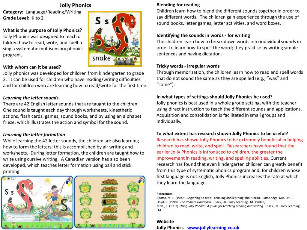 Ppt Jolly Phonics Category Language Reading Writing Grade Level K To 2 Powerpoint Presentation Id 2726357
