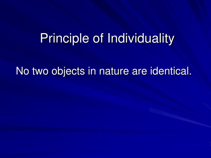 Principle of individuality